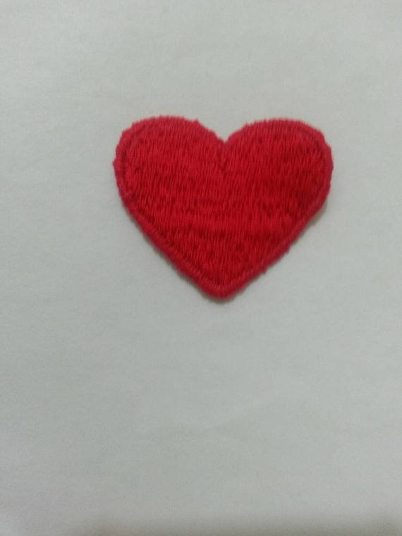 pretty red heart applique patch sew on