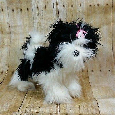 Douglas Plush Shih Tzu Black White Dog Pink Bow Long Hair Stuffed Cuddle Toy Black And White Dog Shih Tzu Puppy Shih Tzu