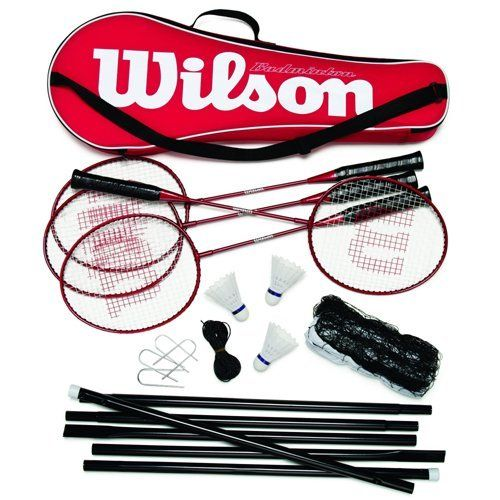 Wilson Tour Pro Badminton Kit Red Black 4 Rackets 3 Shuttles Net Poles Bag By Wilson 47 95 The Tour Pro Badminton Kit F Badminton Kit Badminton Set Badminton
