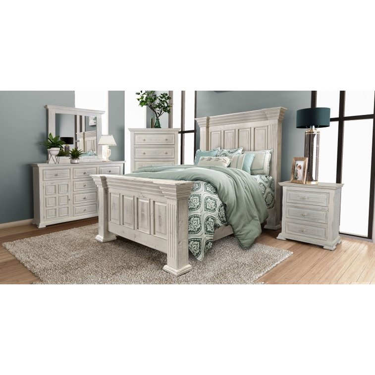Rustic White 4 Piece Queen Bedroom Set - Marquis | King ...