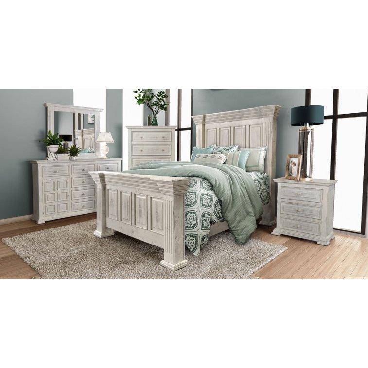 Rustic White 4 Piece Queen Bedroom Set Marquis Furniture