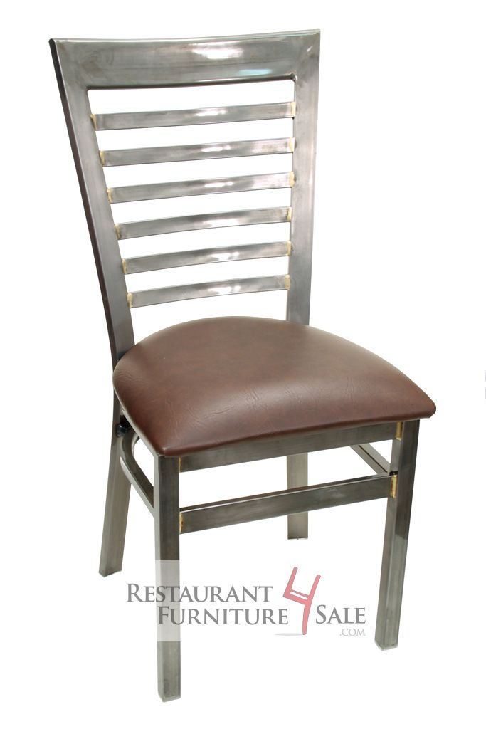 Superbe GLADIATOR Industrial Clear Coat Full Ladder Back Restaurant Chair W/ Brown  Vinyl Seat
