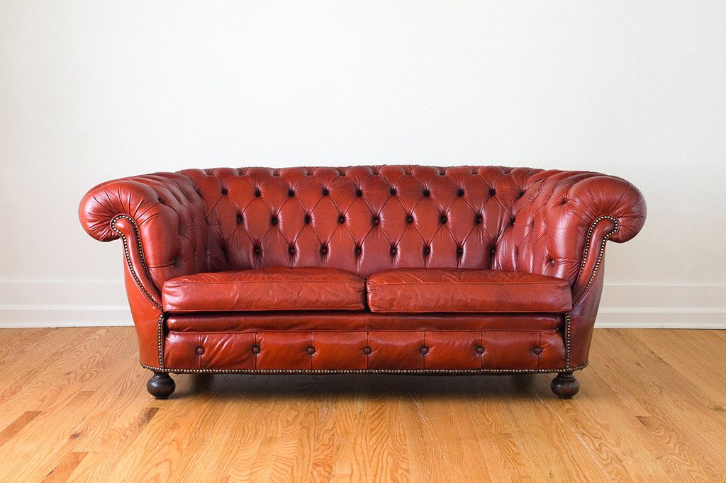 Red Leather Chesterfield Couch Loveseat Leather Furniture