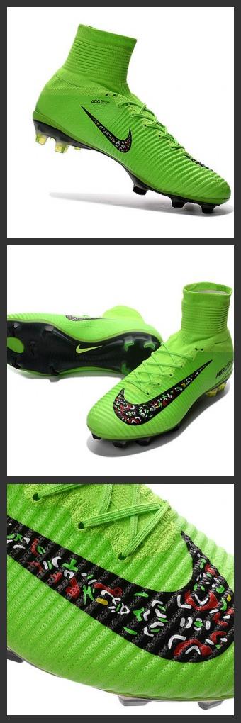 2016 Nuove Scarpa da calcio Nike Mercurial Superfly V FG Verde Nero