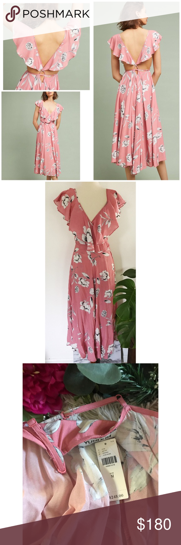 Nwt Yumi Kim Floral Flutter Darby Pink Wrap Dress New With