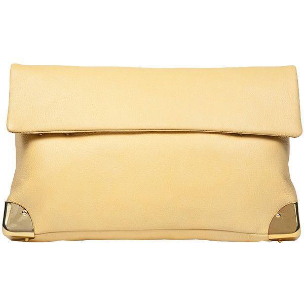 Golden Lane Soave Clutch in Lemon (17.070 RUB) ❤ liked on Polyvore featuring bags, handbags, clutches, lemon, the label monster, fold-over clutches, beige handbags, beige purse, lemon handbag and golden lane