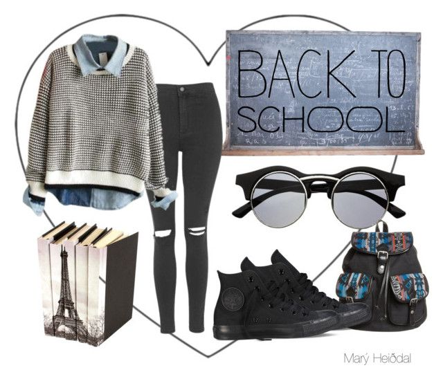 Back To School by maryheiddal on Polyvore featuring Topshop, Converse and even&odd