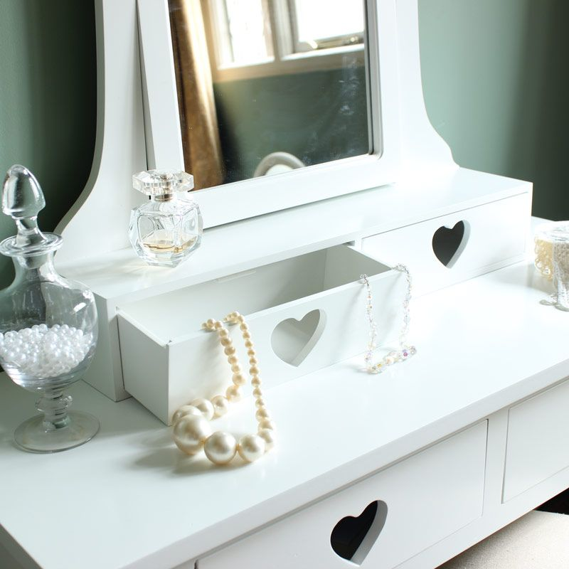 Sophia Heart Range   White Two Drawer Dressing Table, Mirror And Stool Set