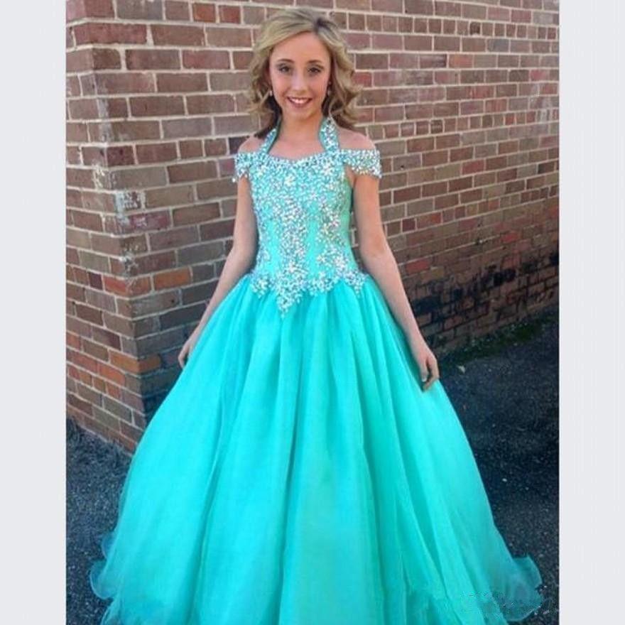 pas cher halter pageant robes pour filles adolescents beadeds fleur fille robes pour mariages. Black Bedroom Furniture Sets. Home Design Ideas