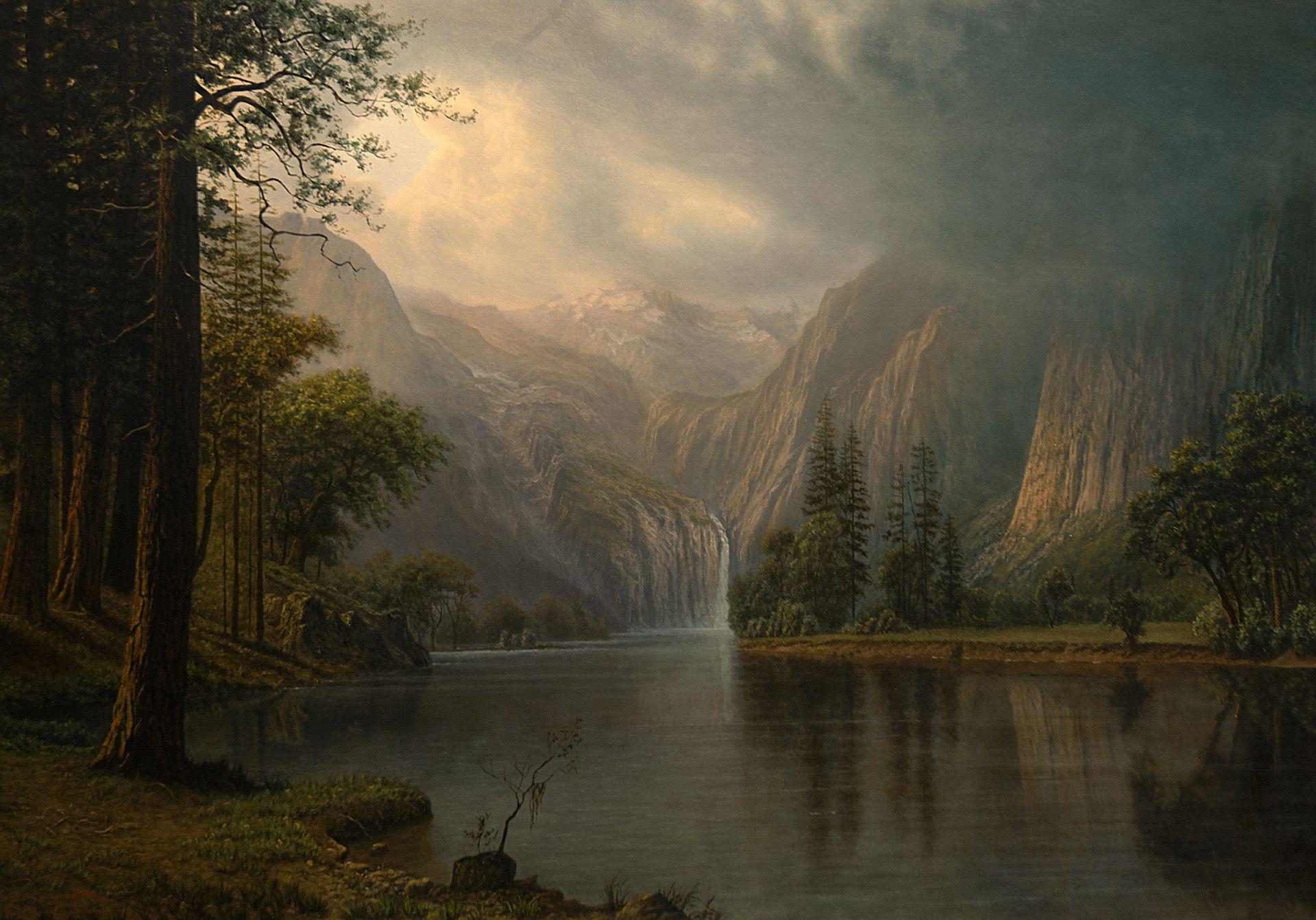 Artstation Mountain Lake Michael Handt Water Painting Autumn Landscape Fantasy Landscape