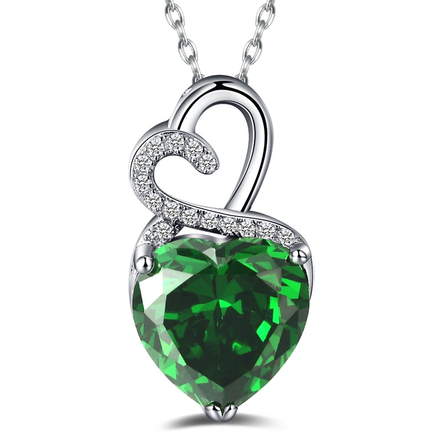 """Genuine Gemstone Heart Pendant Necklace Silver Plated Chain 14 16 18 20 /"""""""
