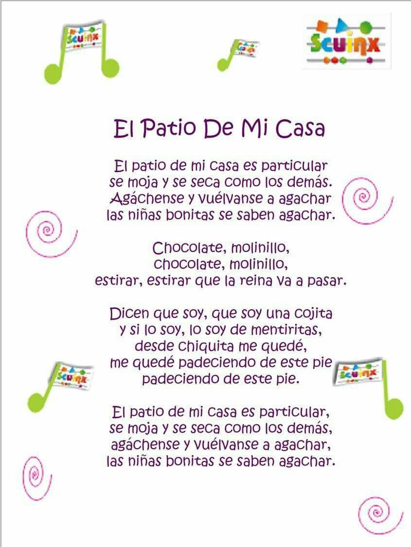 Ronda El Patio De Mi Casa Letras De Canciones Infantiles Canciones Infantiles Canciones Infantiles Preescolar