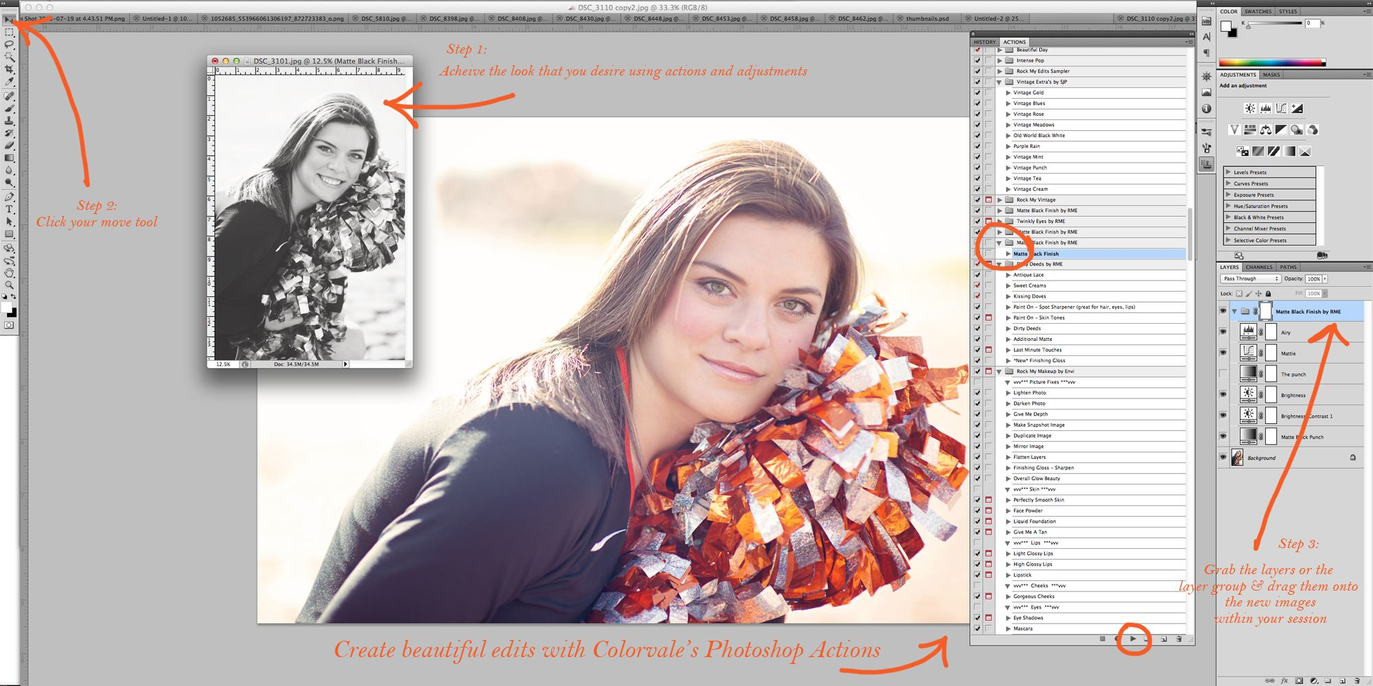 How To Batch Edit In Photoshop Or Elementssaving Time Editing Step By Step  Instructions Http How