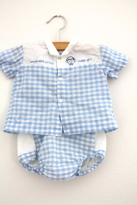 Vintage Baby Boy Shirt and Diaper Cover Set by 1SweetDreamVintage, $9.60