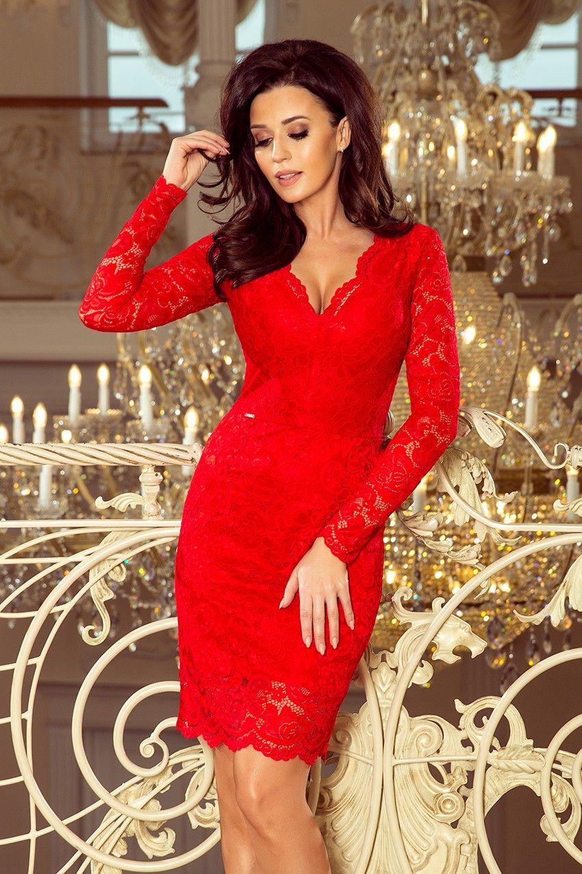 Sukienka Koronkowa Czerwona Tuba Klasyczna Red Lace Long Sleeve Dress Lace Dress Lace Bodycon Midi Dress