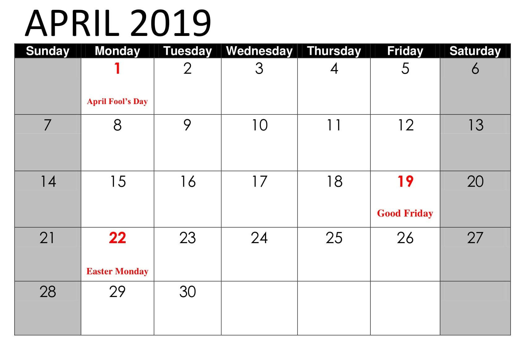 April 2019 Calendar With Federal Holidays Printable