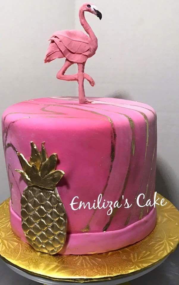 Pink Tropical Birthday Cake Flamingo And Pineapple Flamingos