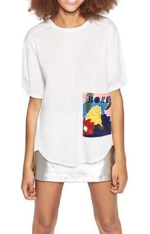 Trendy-Road-Style-Shop-Online-Woman-Fashion-Street-tshirt-top-white-pocket-flowers-print-shortsleeveoneck-loose