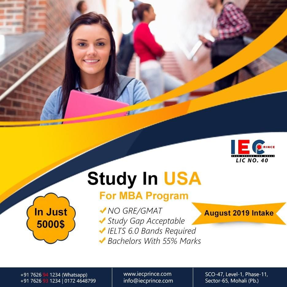 August 2019 Intake Mba Programs In Usa No Gre Gmat Study Gap Acceptable Ielts 6 0 Bands Required Bachelors With 55 Marks With Images Gmat Study Ielts Gmat