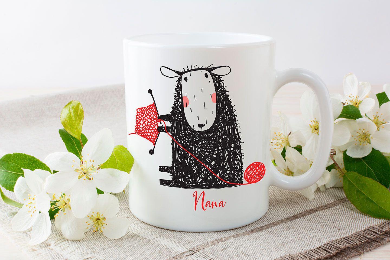 Personalized Mug, 11 - 15 oz ceramic mug, Custom mug, black sheep knitting red sweater, cute mug for grandma, mothers day, custom mug #custommugs