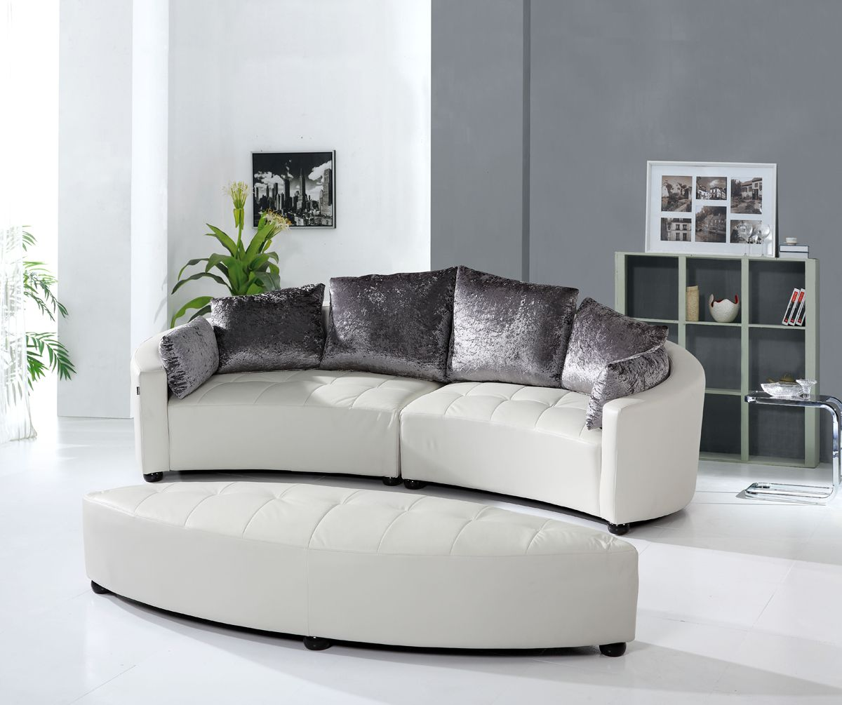 couches for bay windows | Crescent Collection Bay Window Circular Sofa  Suite w Ottoman [SF730
