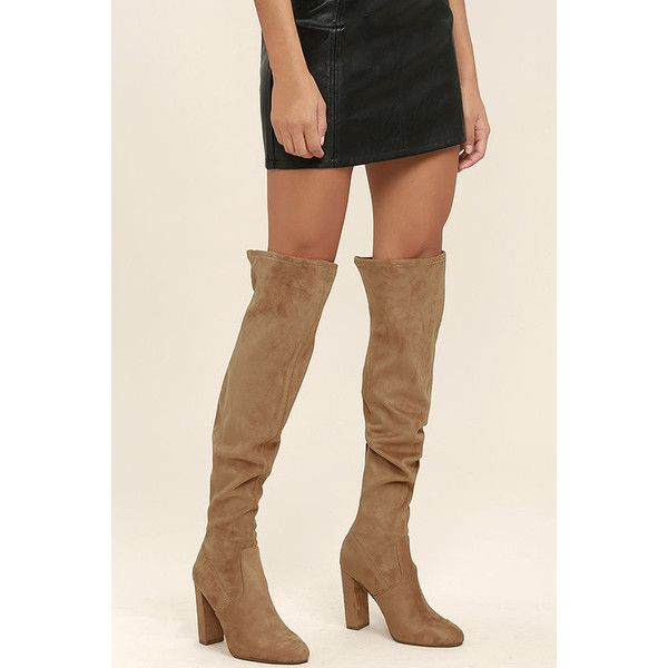 1d5bd4c365a Steve Madden Emotions Camel Suede Over the Knee Boots ( 99) ❤ liked on  Polyvore featuring shoes
