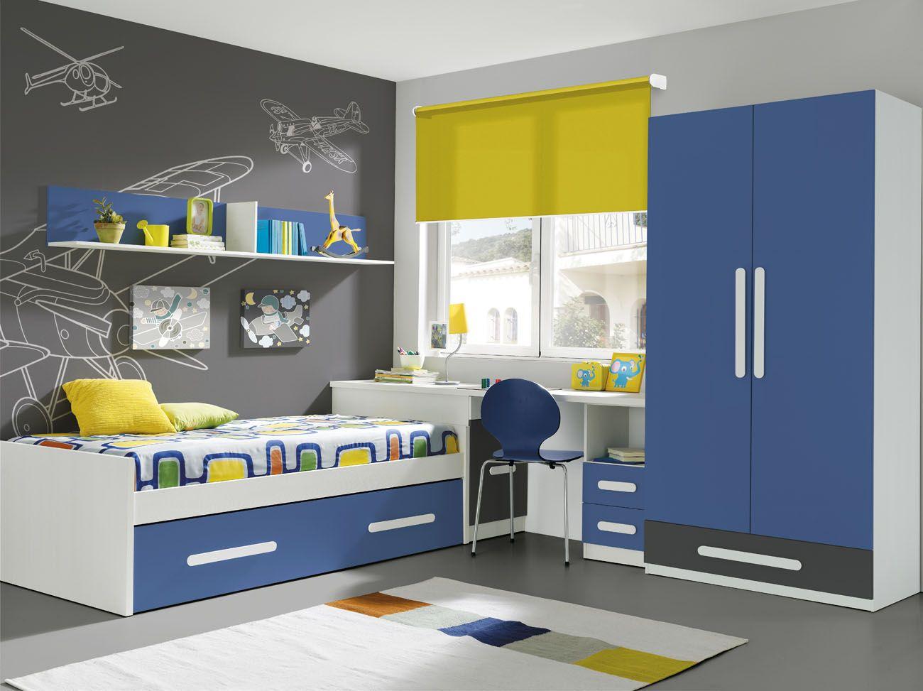Oferta habitaci n juvenil compuesta por escritorio con for Oferta dormitorio infantil