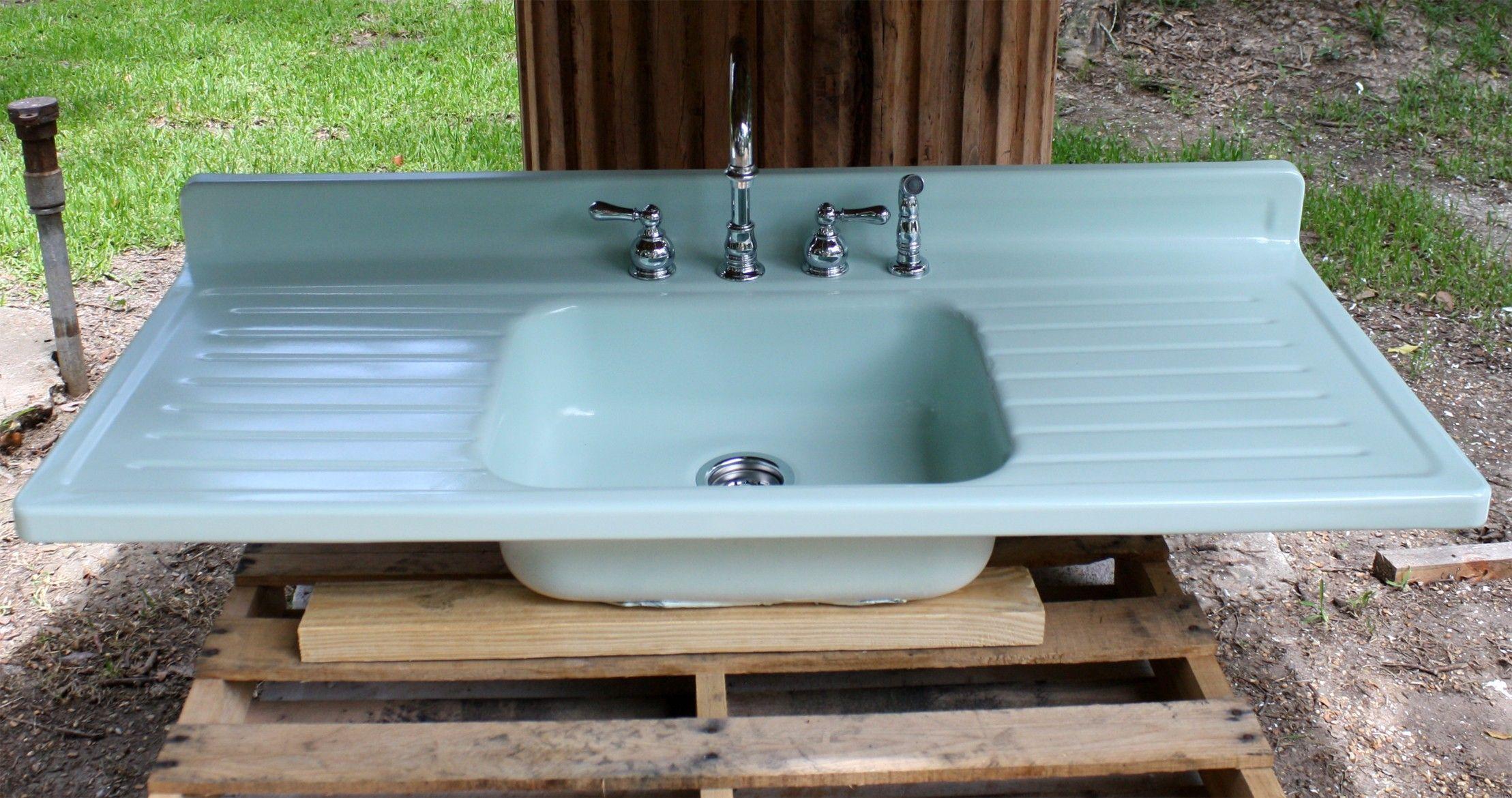 turquoise farmhouse sink Aqua 1950's Metal Farm Sink
