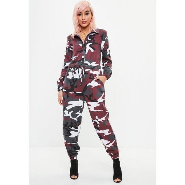 fd09babc58e Missguided Red Camo Boiler Jumpsuit ( 38) ❤ liked on Polyvore featuring  jumpsuits