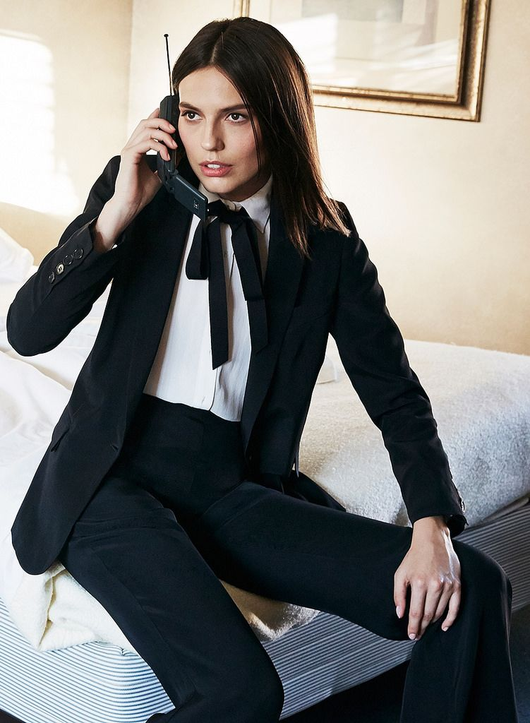 Business Women Dressed In Pants Suit With White Shirt And Black ...