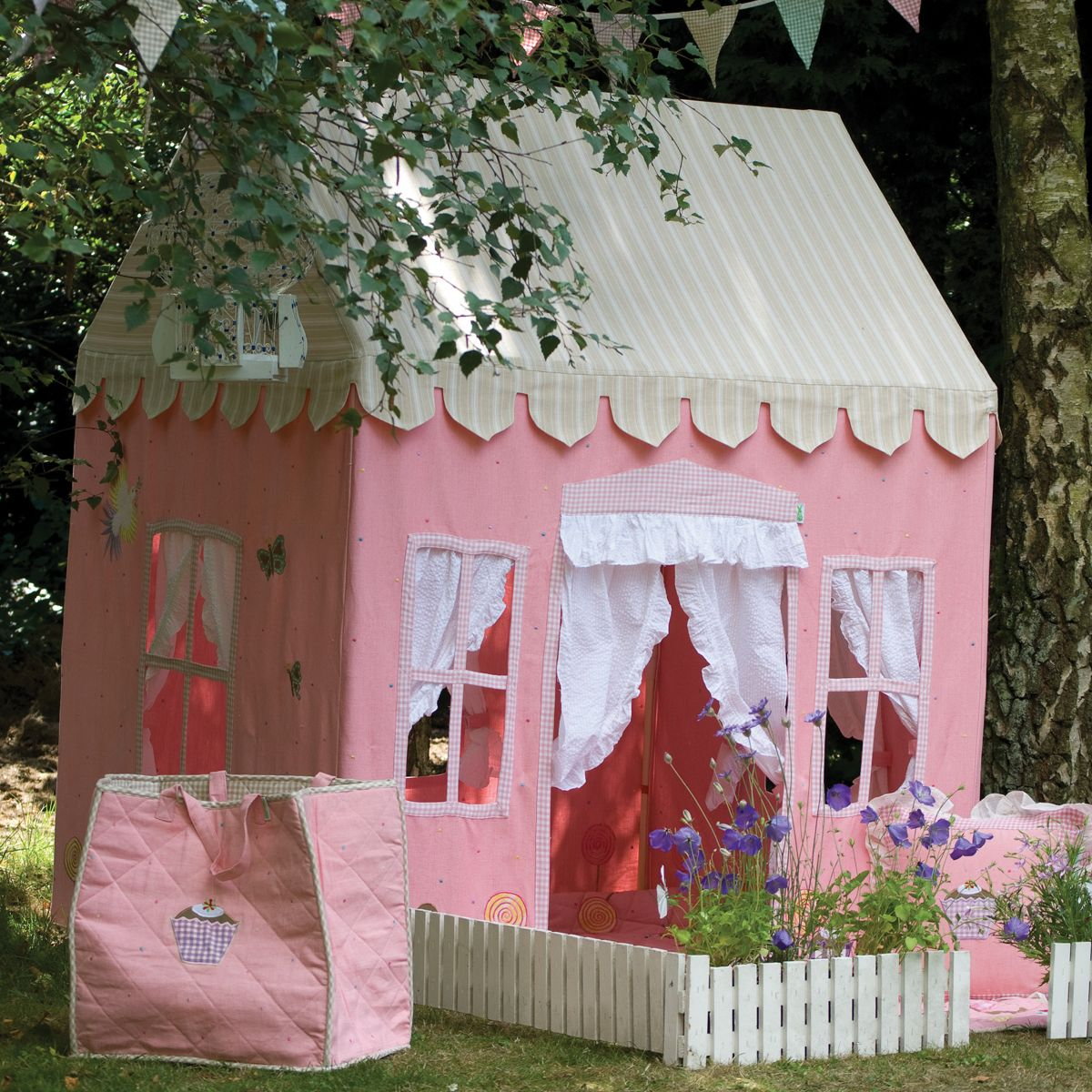 Gingerbread cottage playhouse pink indoor fabric for Kids outdoor fabric