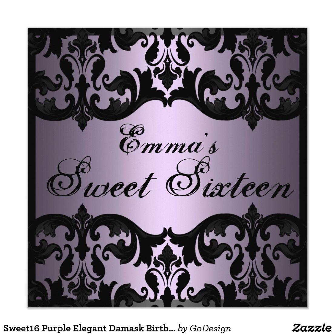 Sweet16 Purple Elegant Damask Birthday Invite | Sweet 16, Party ...