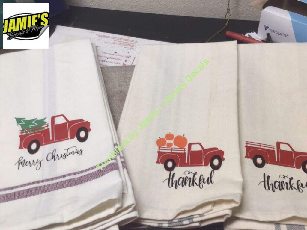 Dish Towel Red Truck Thankful Personalizes Option Made To Order Red Truck Dish Towels Christmas Truck [ 768 x 1024 Pixel ]