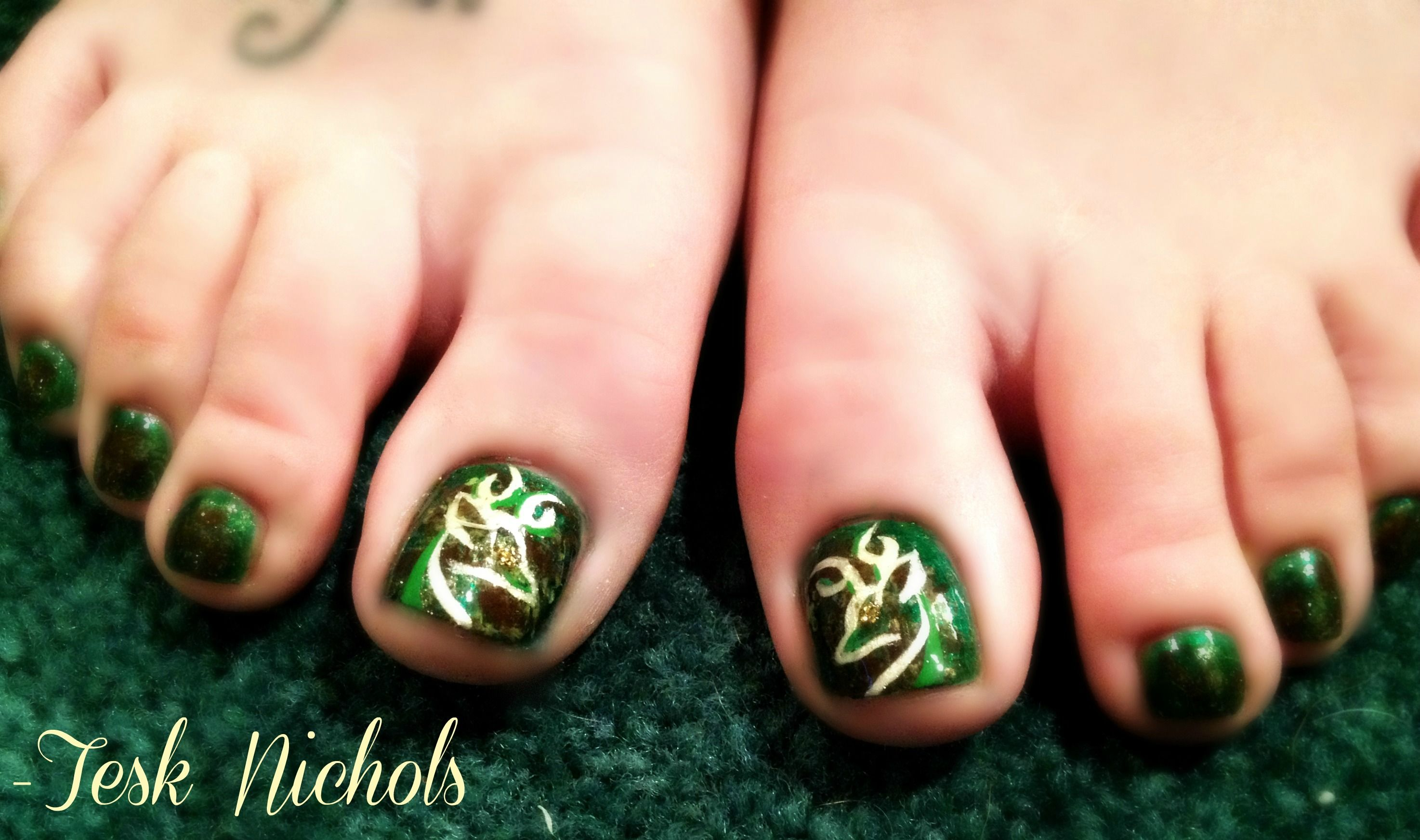 Camo Toenails With Browning Branding Country Nail Art Country
