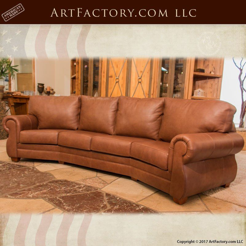 Custom Full Grain Leather Sofa Roll Arm Style Curved Leather
