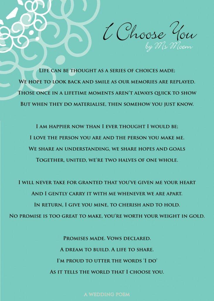 I Choose You A Wedding Poem Ms Moem Poems Life Etc Wedding Poems Wedding Vows To Husband Wedding Ceremony Readings