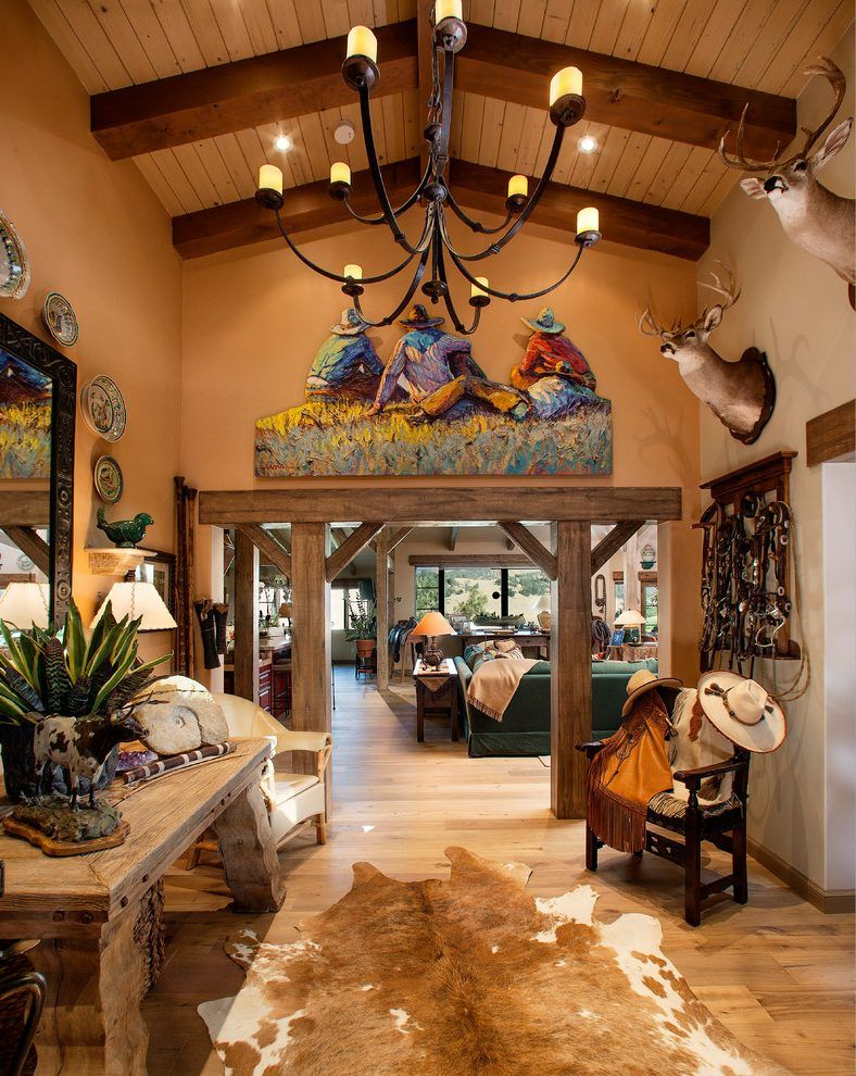 Cowboy Decoration Ideas Entry Southwestern With Hardwood Flooring Cowboy Western Fabric Vaulted