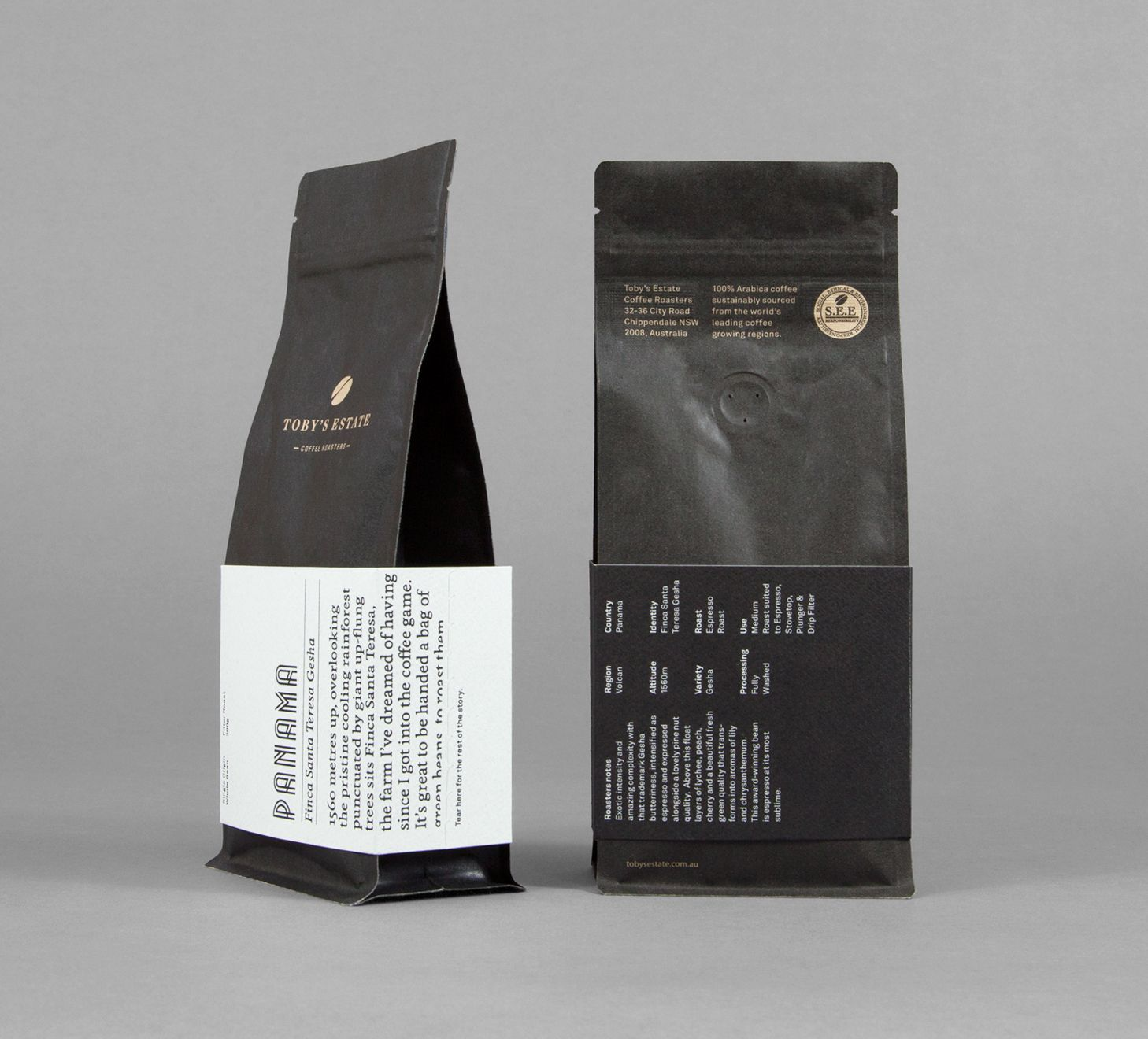 Toby's Estate coffee bean packaging designed by Maud ...