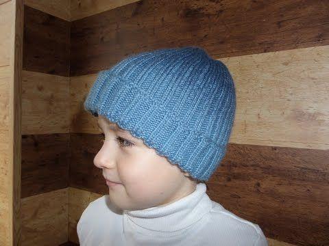 Шапка с ушками для мальчика. Вязание спицами. - YouTube