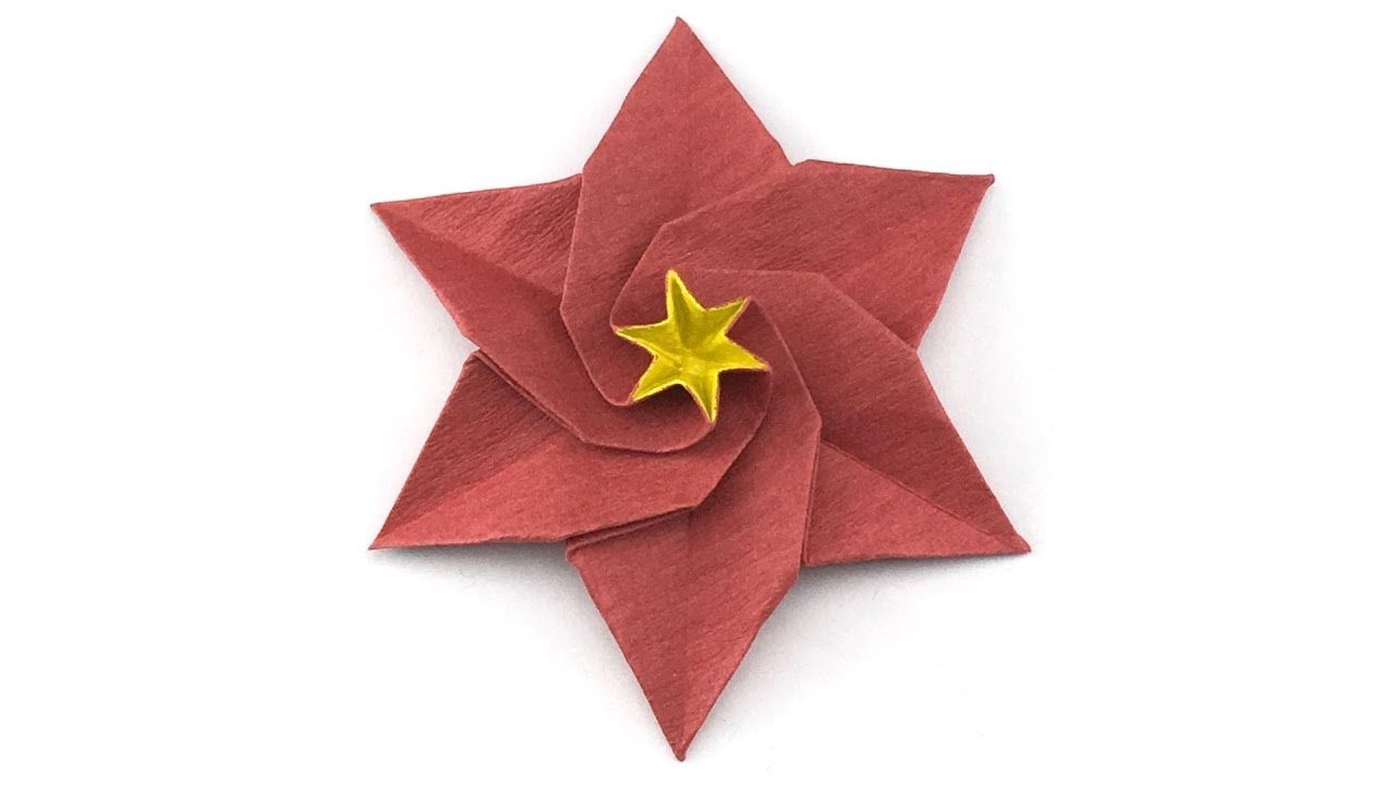 Learn How To Make A Six Petals Origami Poinsettia Flower Try This