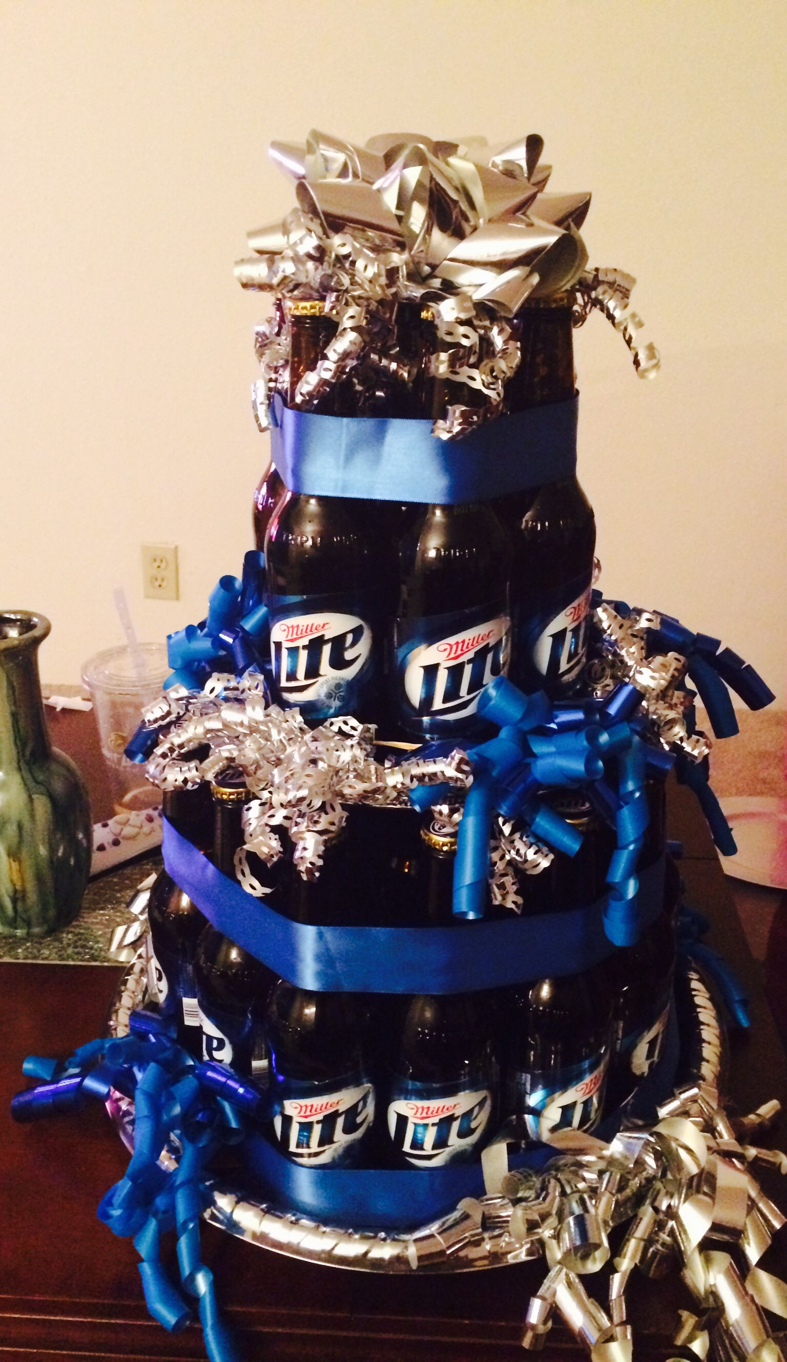 Beer bottle cake I made for my husbands 30th birthday Pinned it