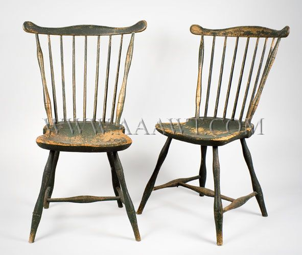 Matched Pair Fan Back Windsor Side Chairs Probably Boston Area Circa  1790 1810 Old