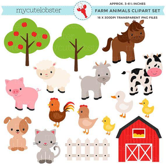 Farm Animals Clipart Set Farm Barn Farmyard Animals Etsy Animal Clipart Farmyard Animal Farm Animals