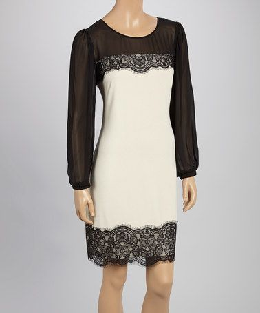 Another great find on #zulily! Black & Taupe Lace-Accent Shift Dress by SL Fashions #zulilyfinds