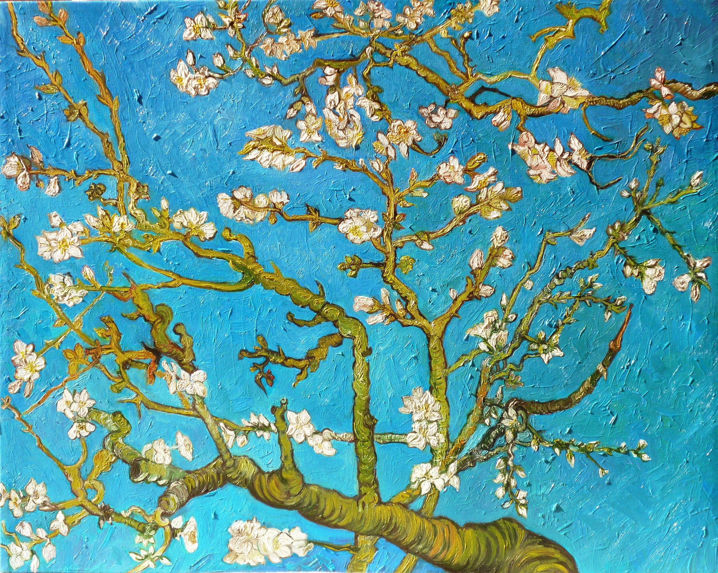 White Cherry Blossom Canvas Painting Branch Picture Painting Blue Art Vincent Van Gogh The Almond Tre Van Gogh Wallpaper Cherry Blossom Wallpaper Van Gogh
