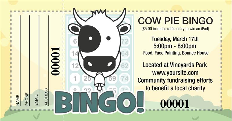 Cow Pie Bingo Raffle Tickets Cow Pies Raffle Creative Fundraising