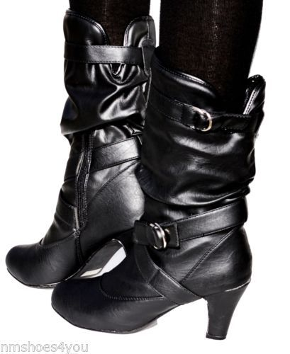New Women High Heel Faux Leather Slouch Kitten Mid Calf Dress Boots