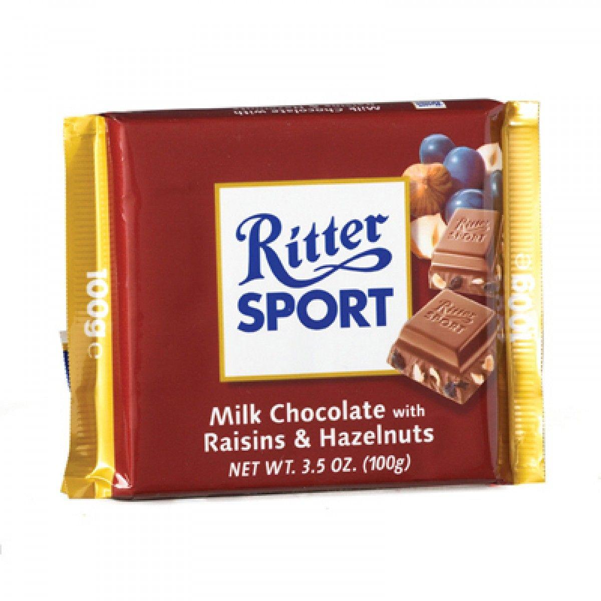 RITTER SPORT Milk Chocolate w/ Raisins & Hazelnuts Bar