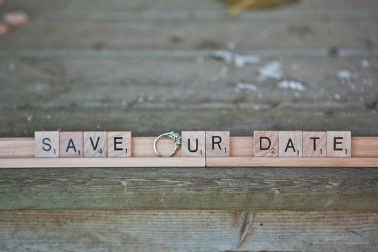 Save the date with Scrabble pieces  #engagement shoot ideas