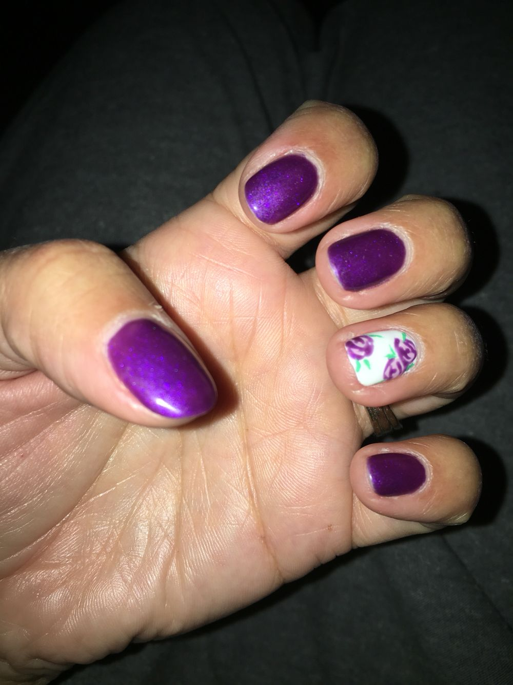 Cystic Fibrosis nails. Pretty purple with simple rose design ...